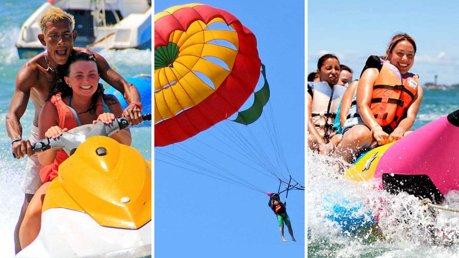 combo image of banana boat jet ski and parasailing