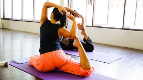 Group pilates exercises in Bali