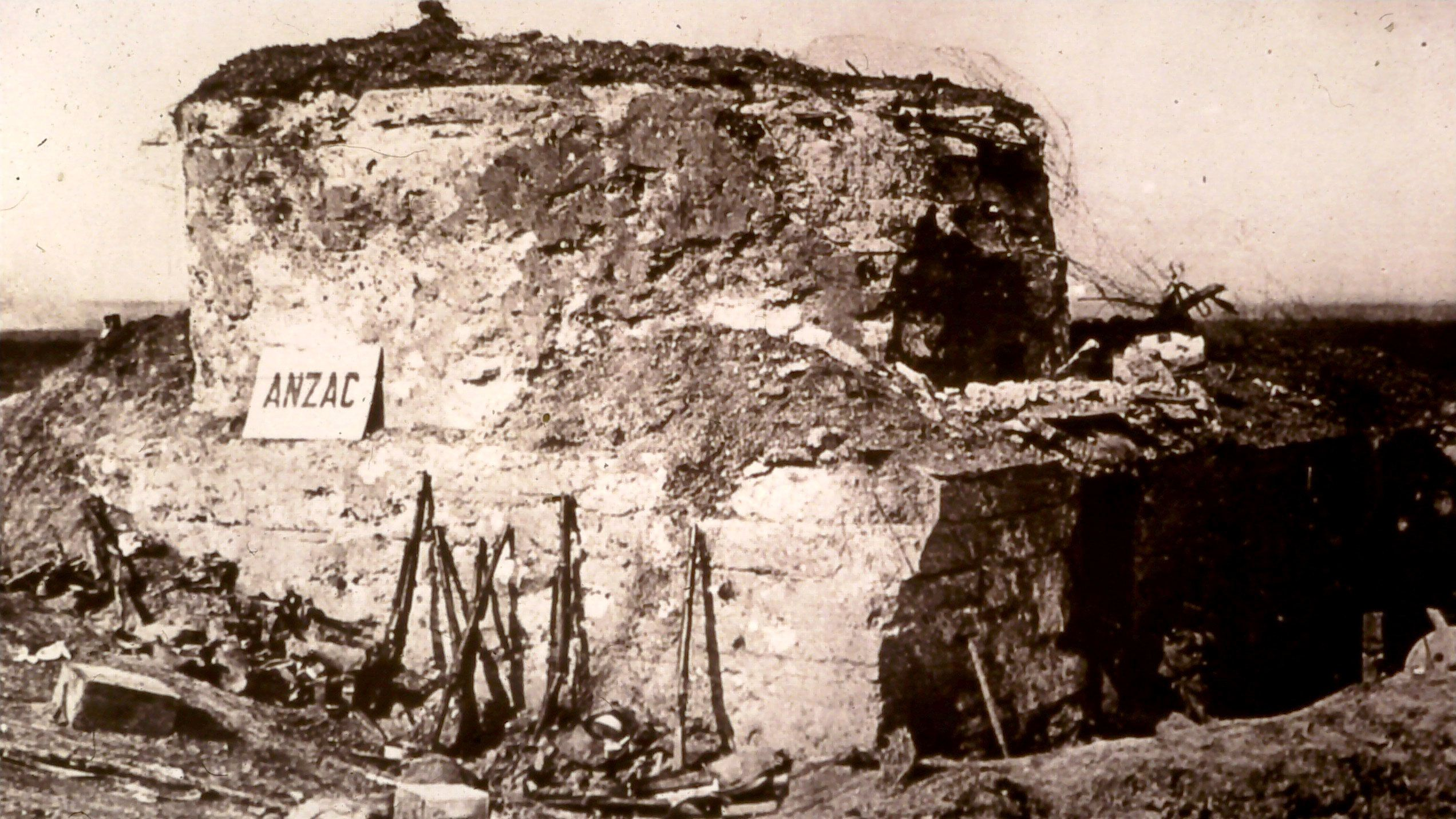 Historical photo of a WWI bunker in Belgium