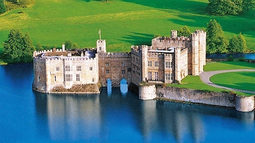 Aerial panoramic view of Leeds Castle and Canterbury in London