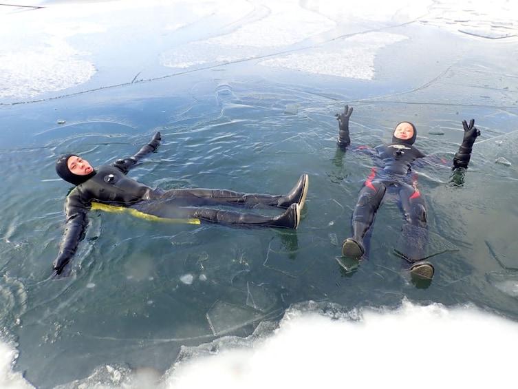 Show item 4 of 5. Ice Walking on Hokkaido's Lake Shikotsu