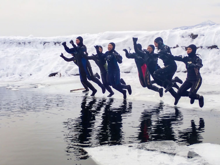 Show item 3 of 5. Ice Walking on Hokkaido's Lake Shikotsu