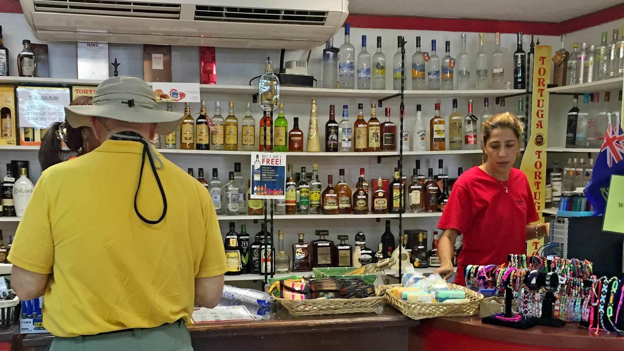 Inside a souvinir shop in the Cayman Islands