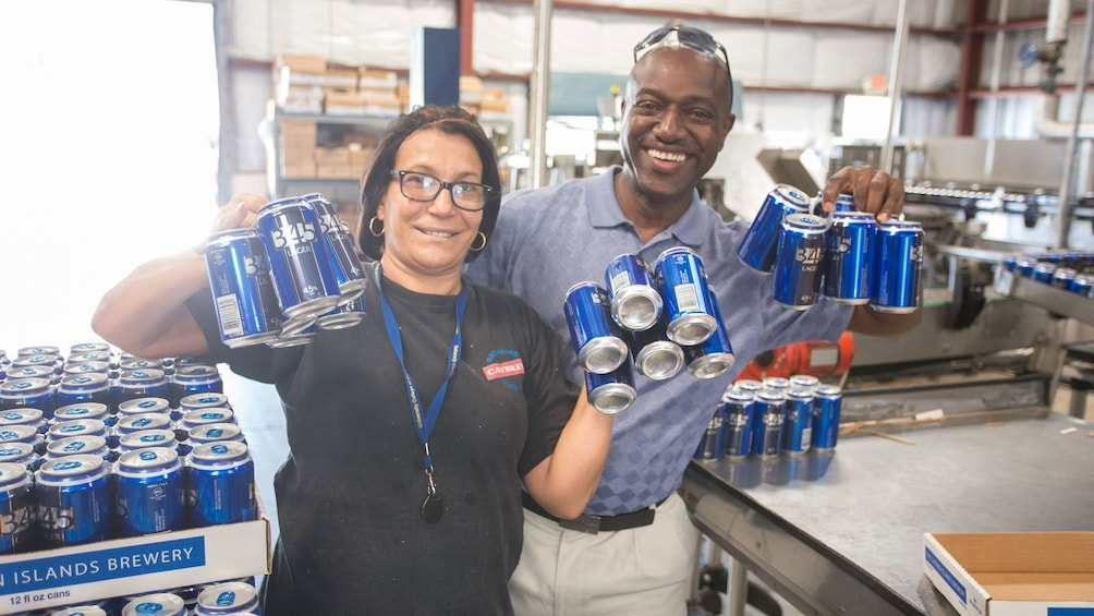 packaging beer cans at the Cayman Islands