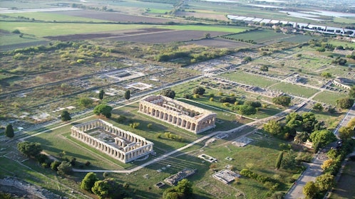 Aerial view of the temples in Paestum