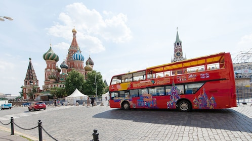 View of double decker bus touring around Moscow