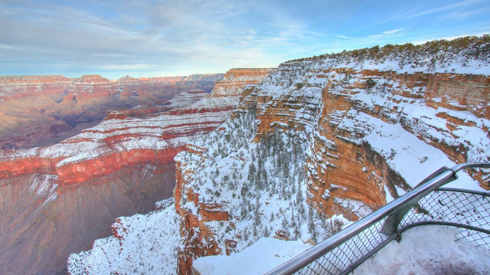 Landscape view of Grand Canyon with snow.
