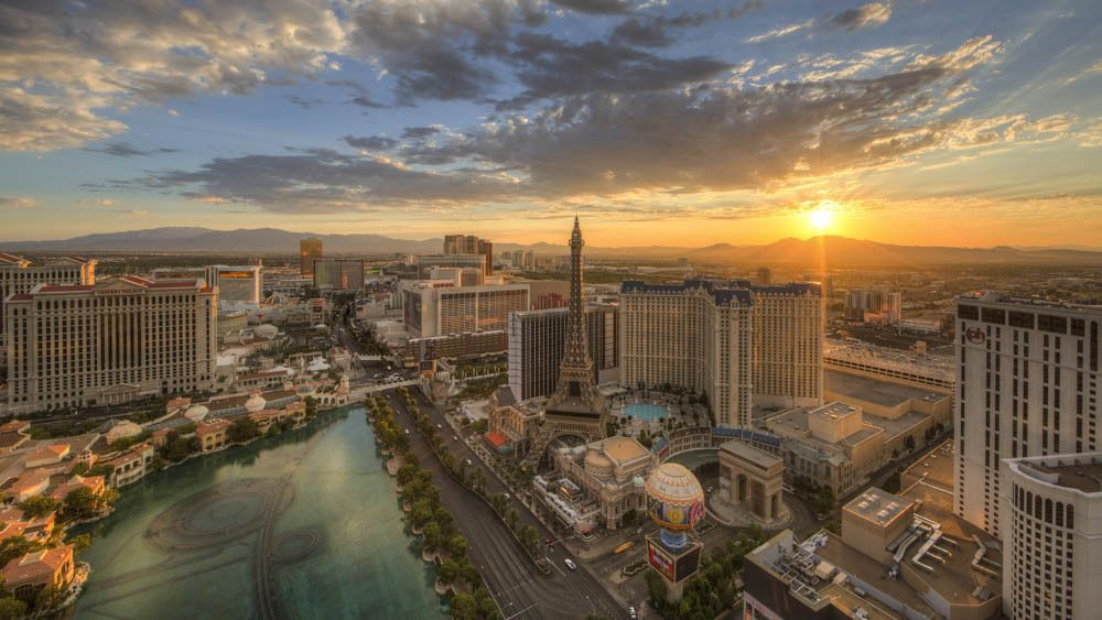 Aerial view of Las Vegas strip from helicopter during sunset.