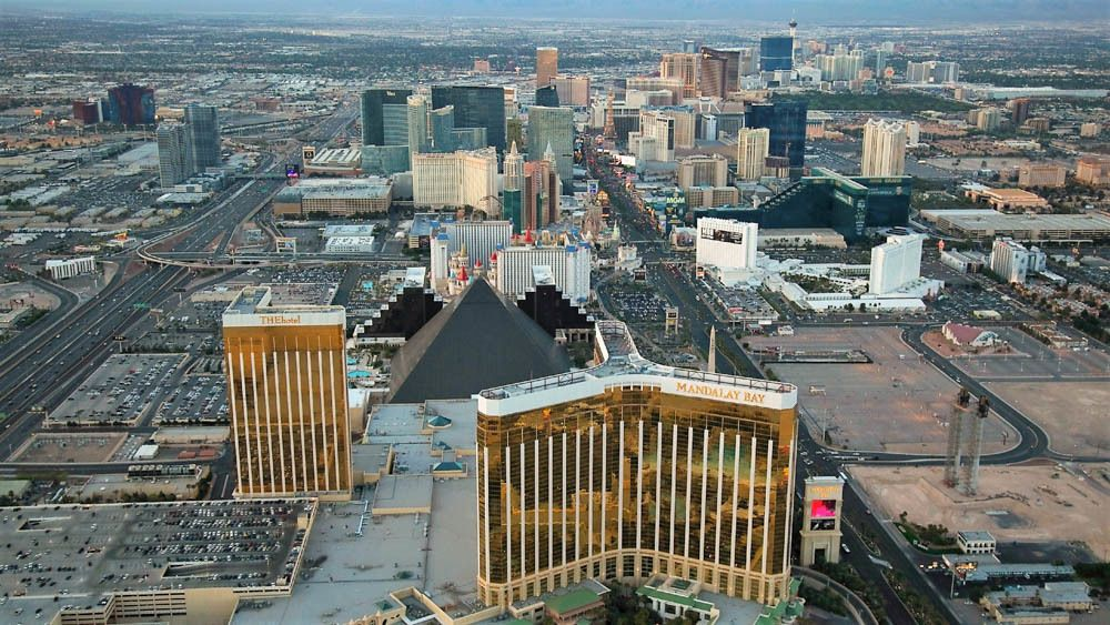 Aerial view of Las Vegas strip from helicopter.