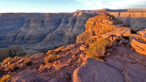 the sun setting on the rocks of Grand Canyon
