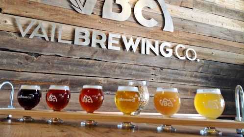View of the sign for the Vail Brewing Company with a variety of different beers in Vail
