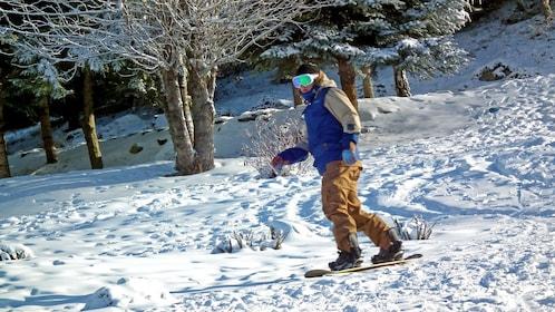 snowboarder in the sun in Whistler