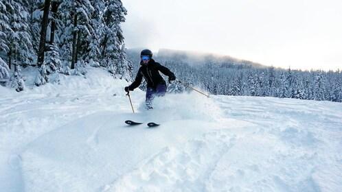 speeding skier kicking up snow in Whistler