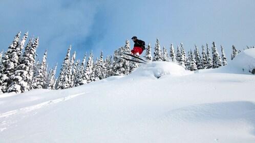 skier speeding off a ramp in Whistler