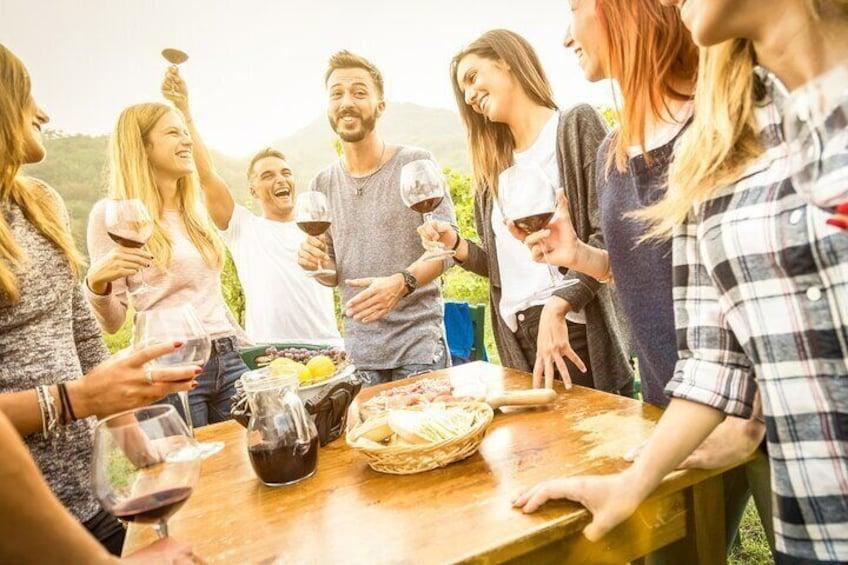 Wine tasting with friends in Orange