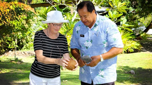Tourist with a guide on Cook Islands