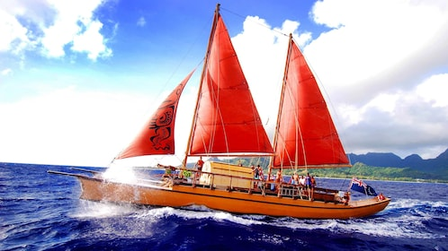 View of a sailboat in the Cook Islands