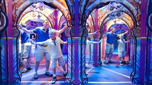 Father and son having fun at the Hollywood Wax Museum Entertainment Center in Myrtle Beach, South Carolina