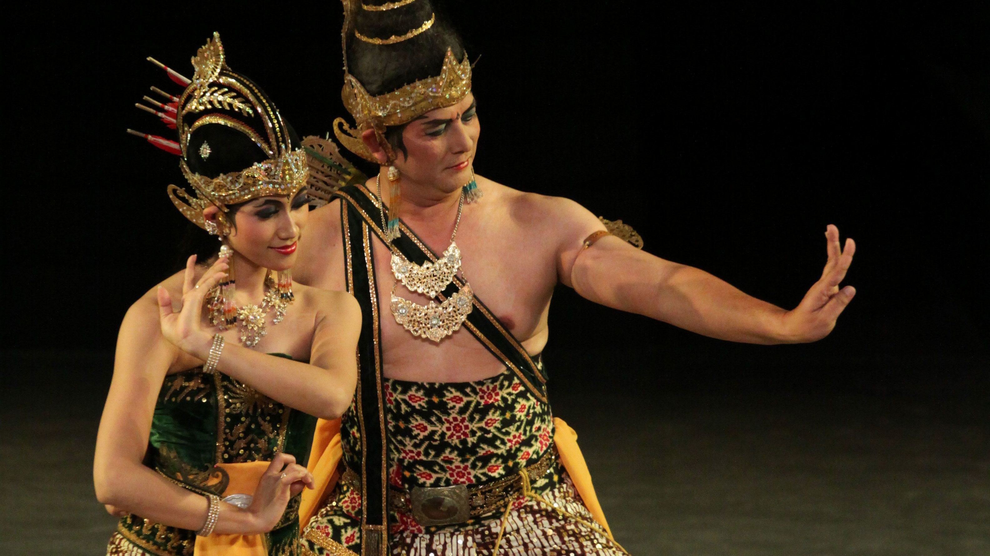 Man and woman dancing onstage in Bali