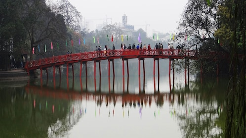 View of the bridge over Hoan Kiem Lake in Hanoi