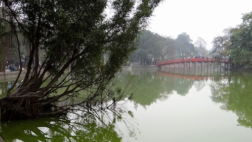 Distant view of the bridge over Hoan Kiem Lake in Hanoi