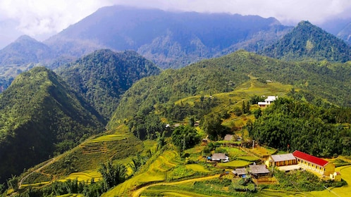 Clear aerial day view of Sapa