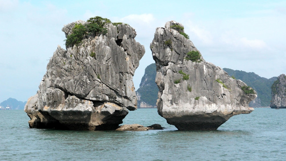 Show item 3 of 5. Close view of the rocks in Ha Long Bay, Vietnam