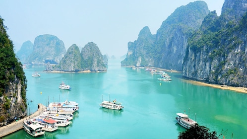 Day view of the blue waters of Ha Long Bay in Vietnam