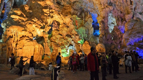 colorfully lit cave in Hanoi