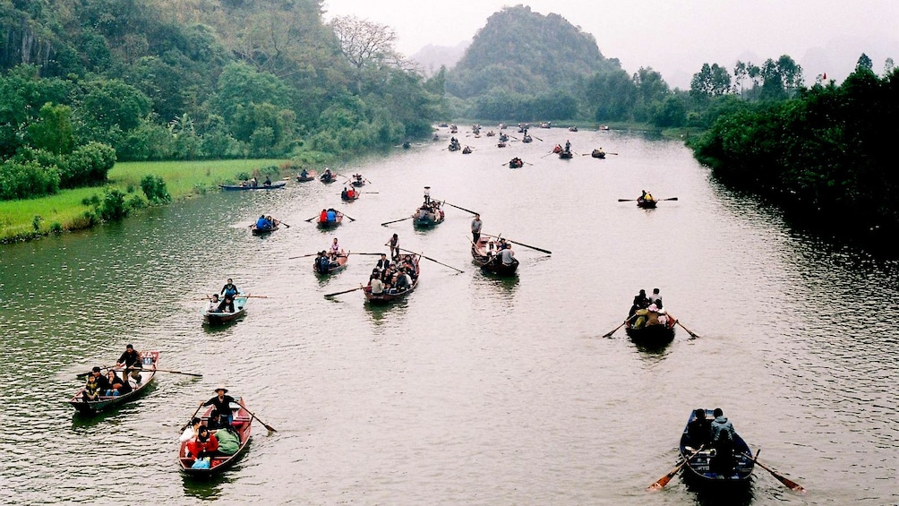 Tour boats on the perfume river in Vietnam