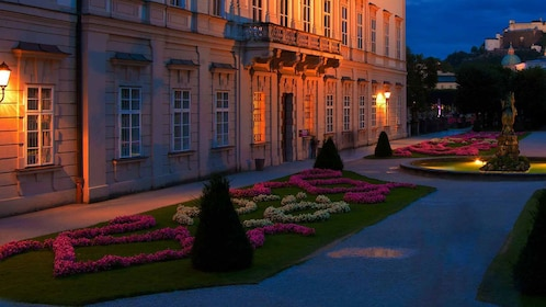 walking through the Mirabell garden during the evening in Austria