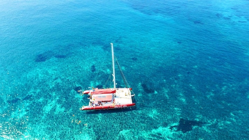Aerial view of catamaran in Santorini