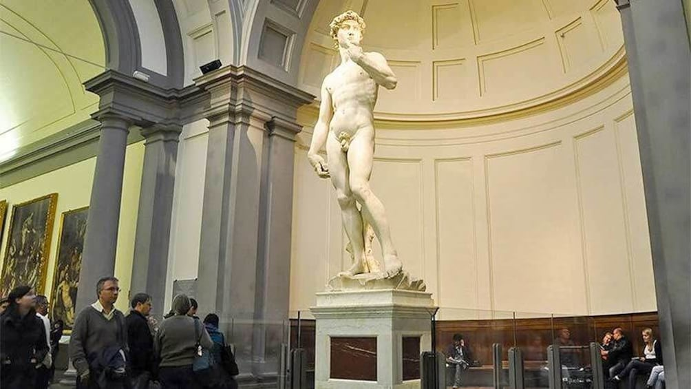 View of visitors at the  Accademia Gallery in Florence