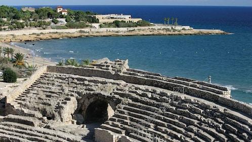 Amphitheater ruins along the coast in Terragona