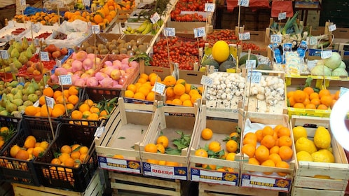 crates of fruits at the market in Sicily Islands