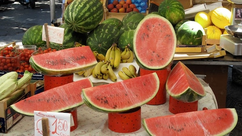 watermelons at the market in the Sicily Islands