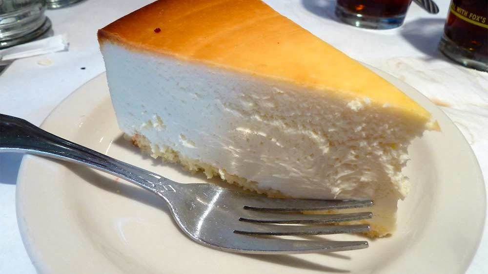 Slice of cheese cake at restaurant in New York City
