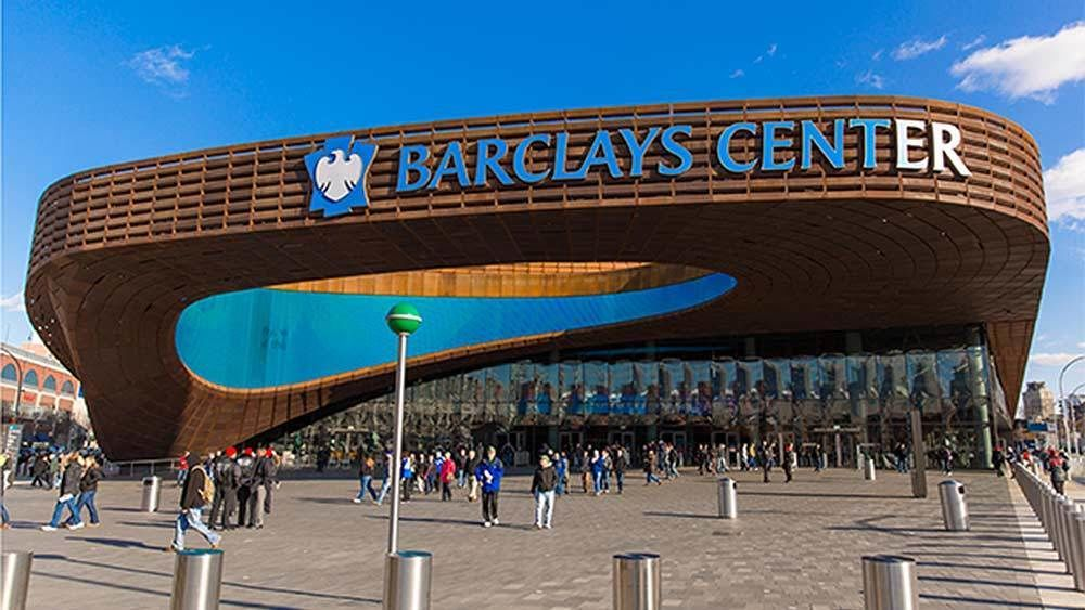 Panoramic view of the Barclays Center in New York City