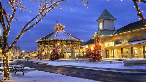 Shopping center at night in the winter time in California Central Valley North