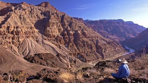 Landscape view of canyons with man observing.