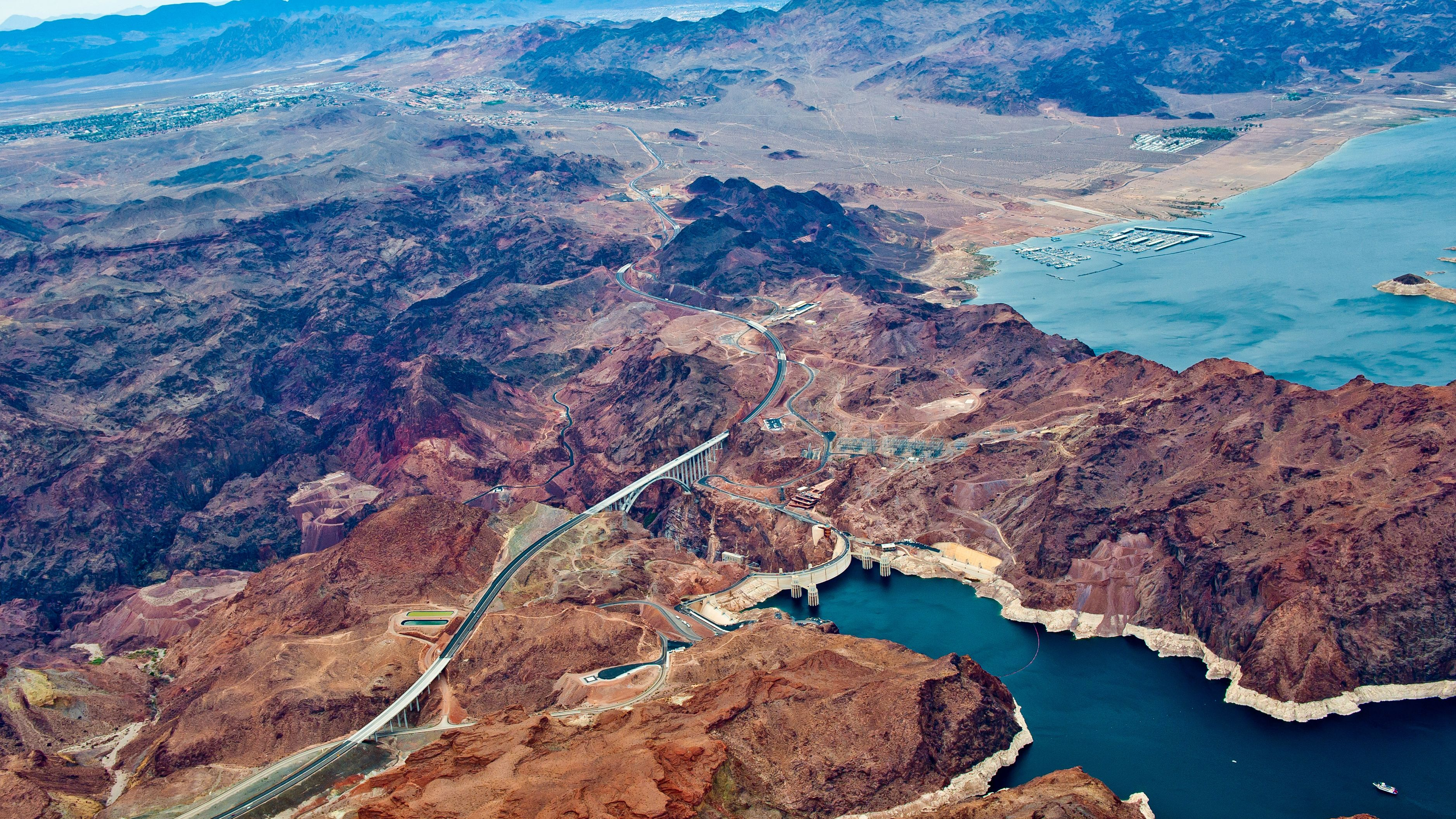 Aerial view of The colorado river and the Grand Canyon