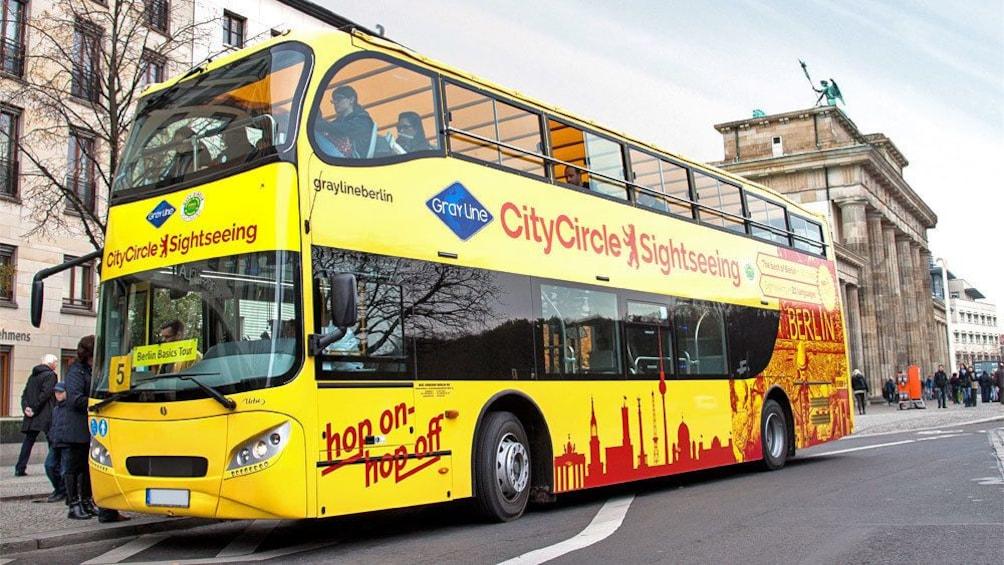 boarding the double decker bus in Berlin