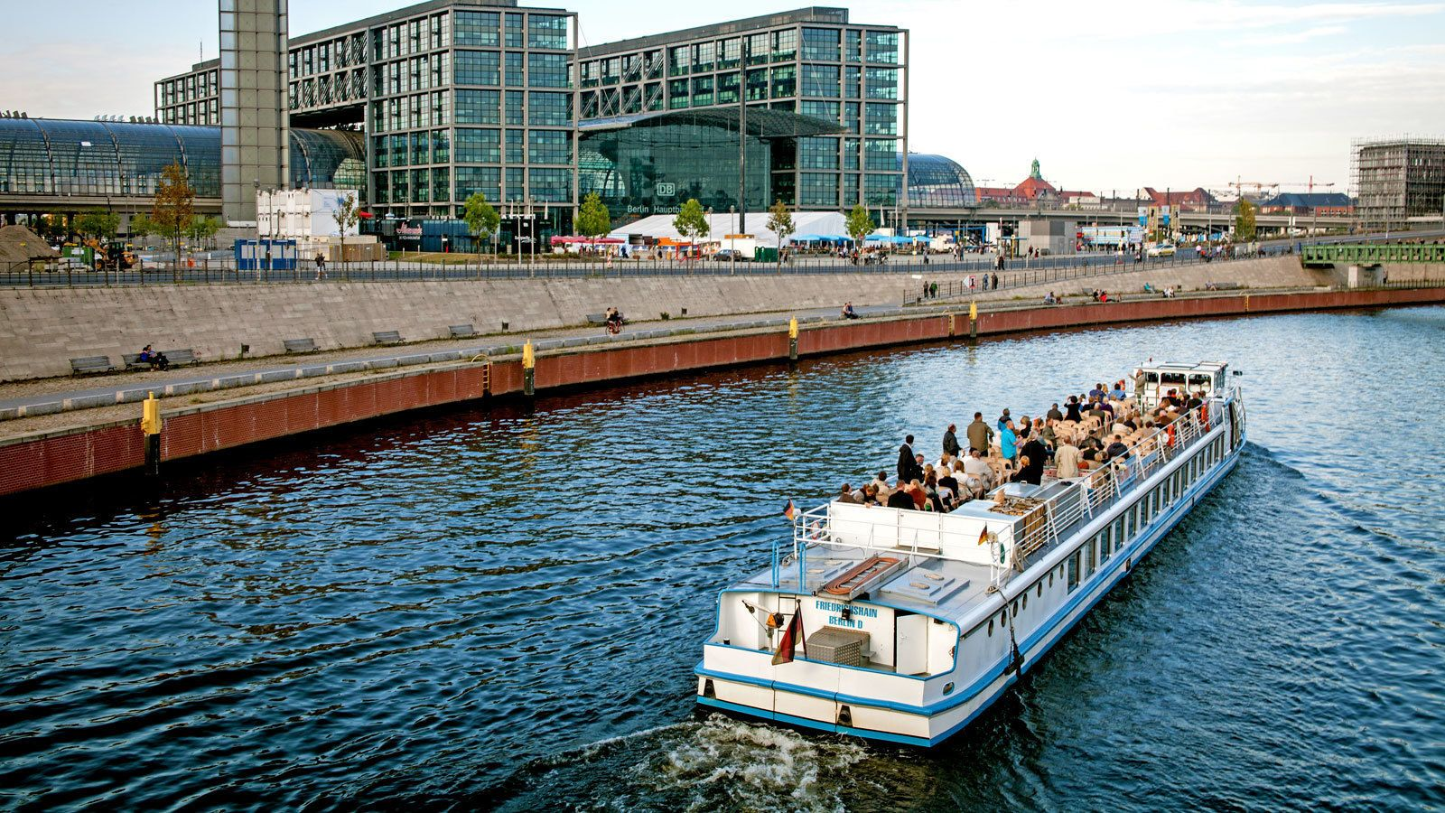 taking a boat through the water channel in Berlin