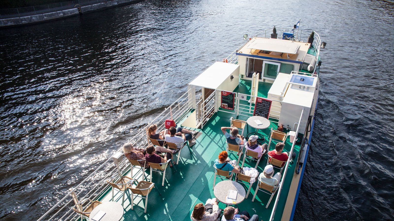 aboard a boat on a sunny day in Berlin