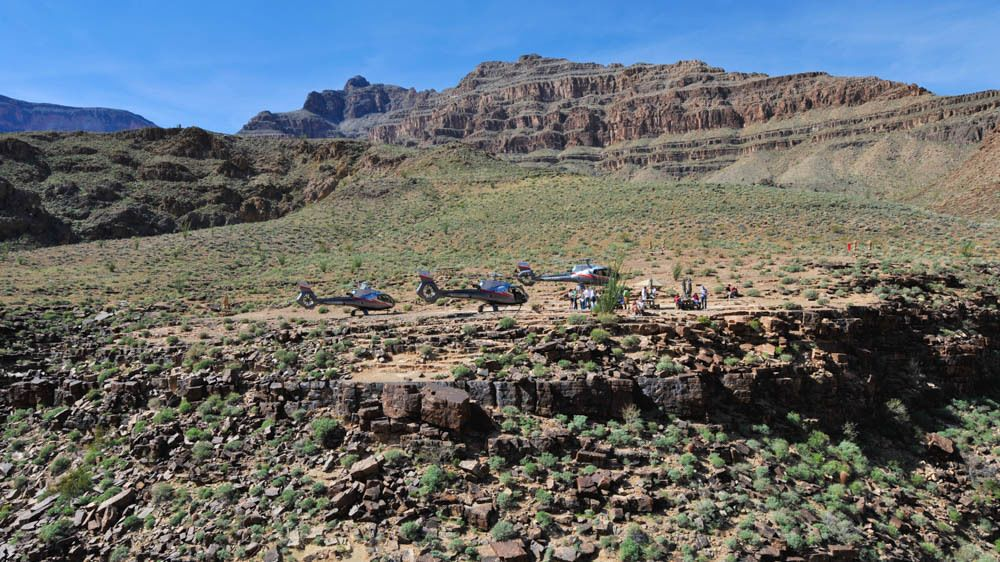 Several helicopters grounded near canyons