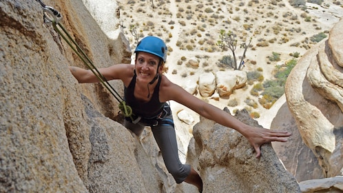 Rock climber smiling in Palm Springs