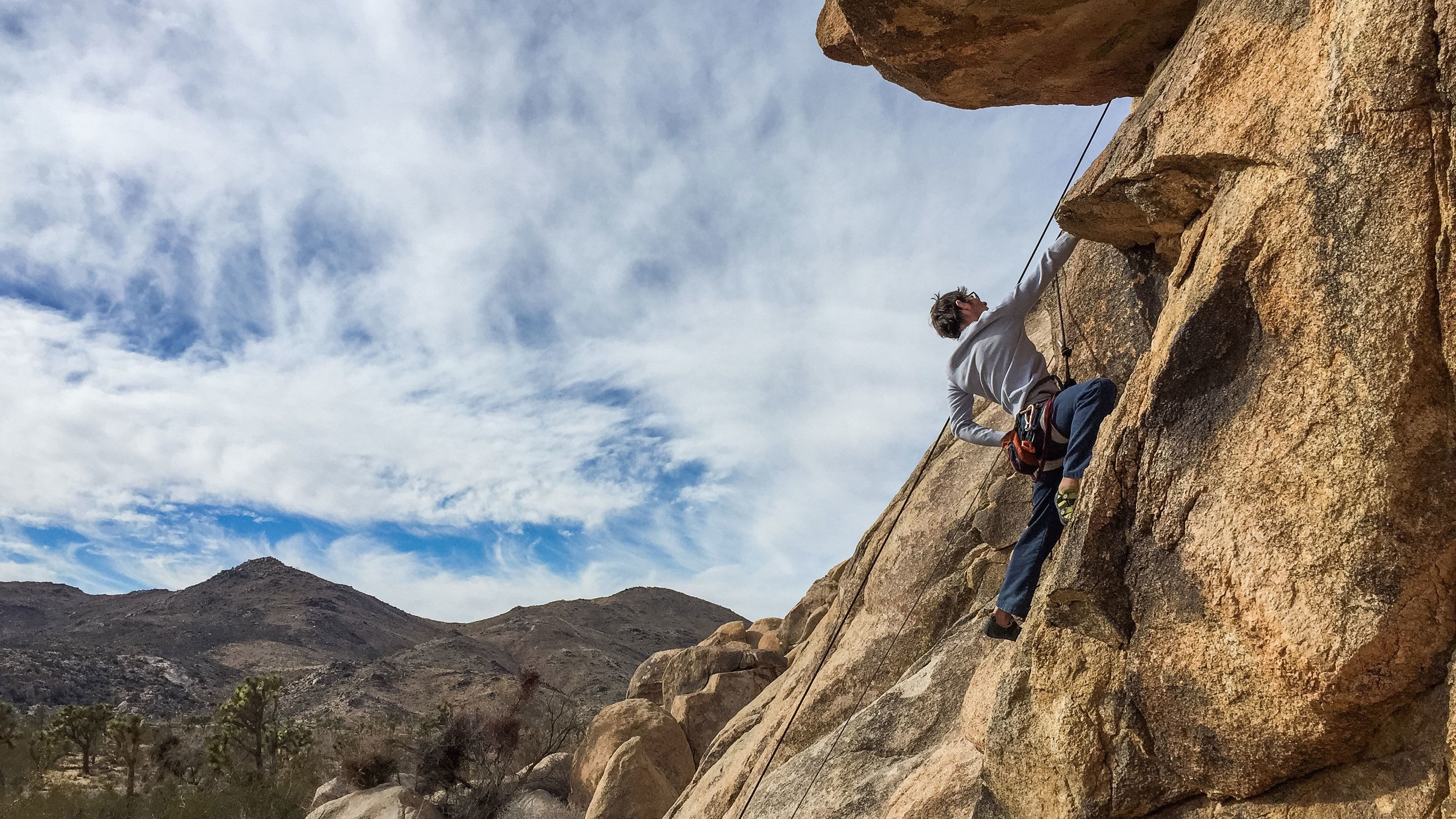 Man rock climbing in Ontario, California
