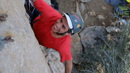Rock climbing man in Ontario, California