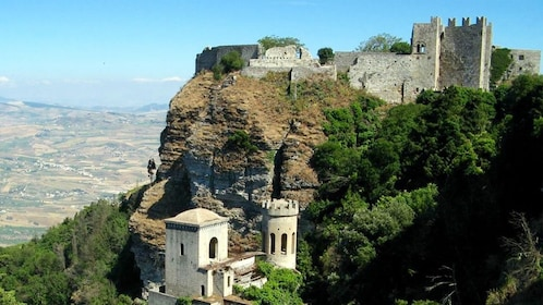 Aerial view of castles in Sicily.