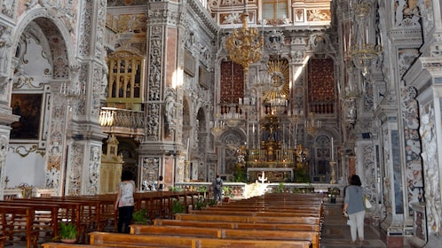 Inside a cathedral in Palermo
